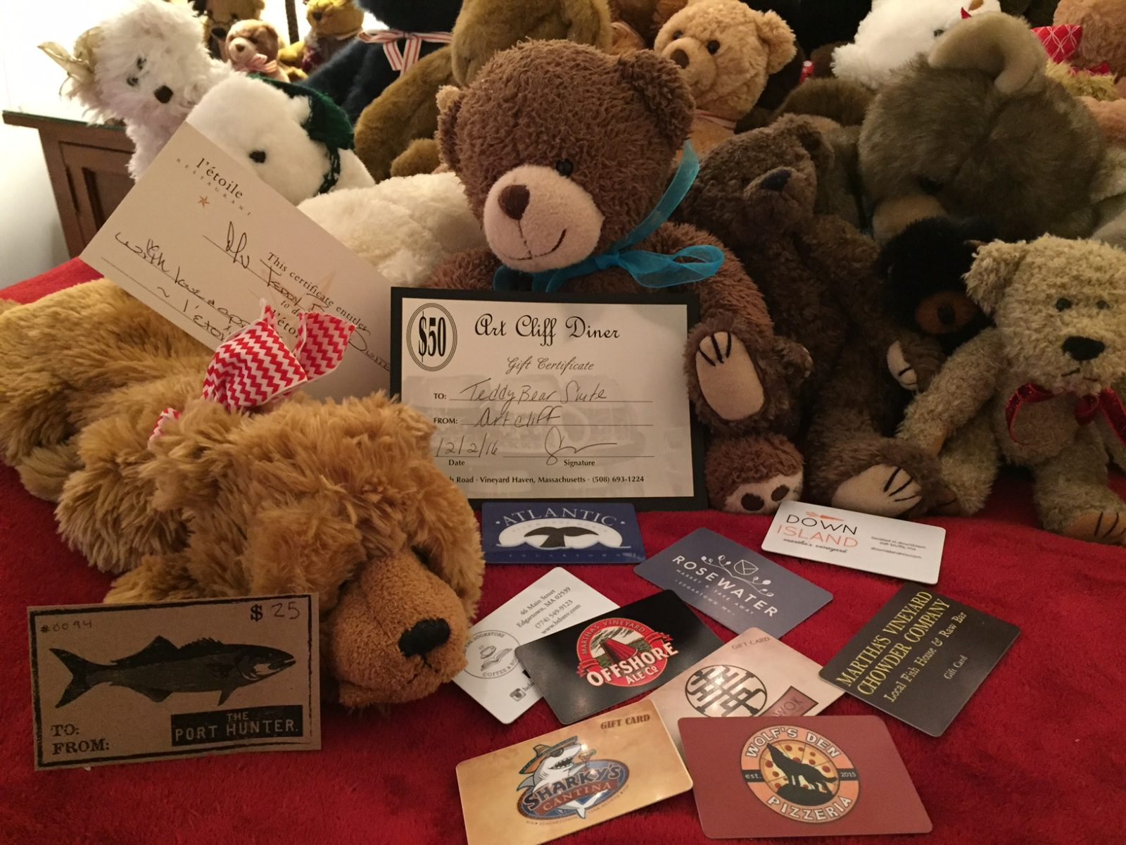 Martha's Vineyard Teddy Bear Suite Raffle - Dining Out Package Martha's Vineyard Restaurants