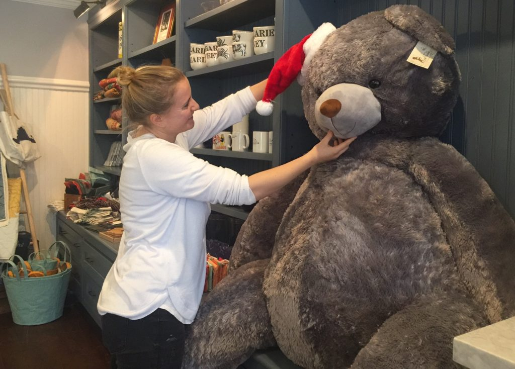 Rosewater Market Owner Julia Celeste Getting Martha's Vineyard Teddy Bear Suite Fundraising Raffle Bear Ready