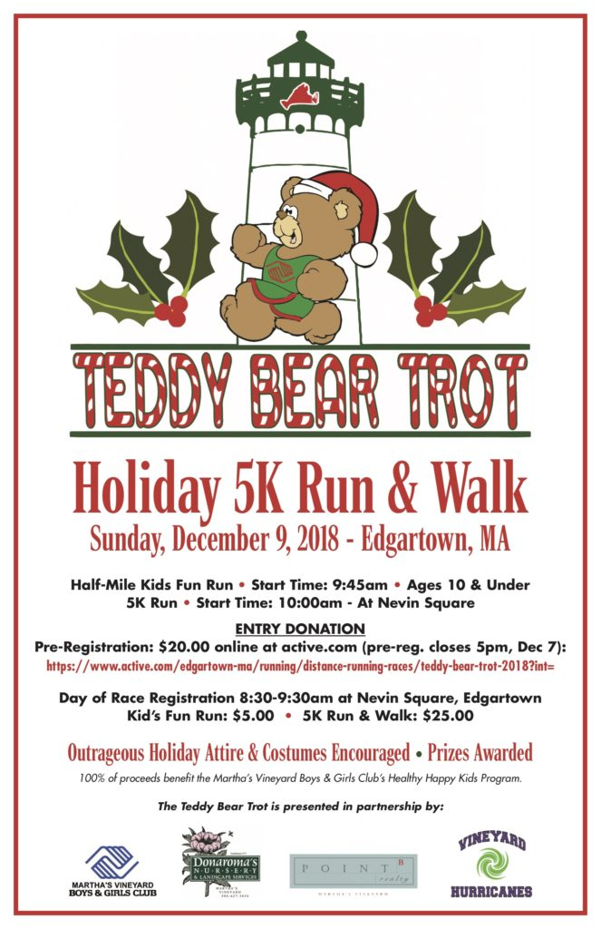 Teddy Bear Trot 5K Run & Walk Supports Martha's Vineyard Boys & Girls Club Healthy Happy Kids Food Program