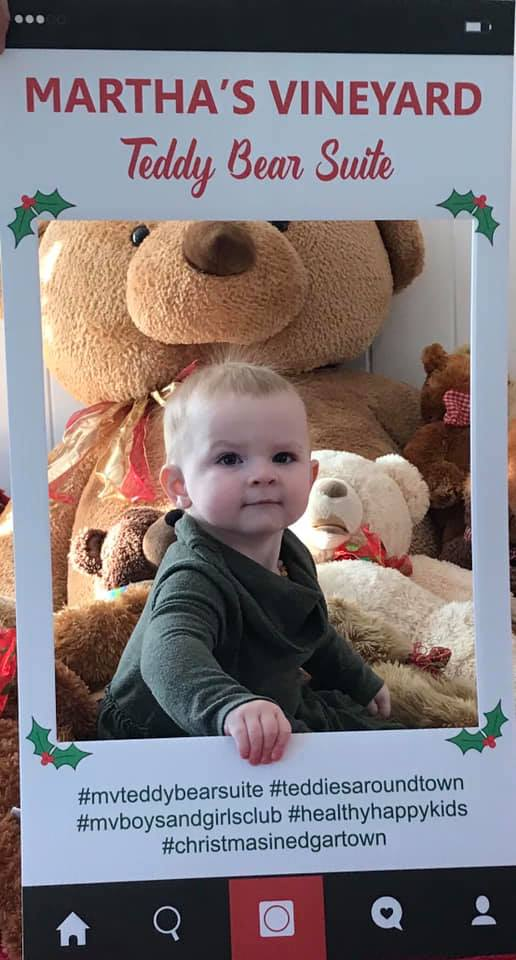 Teddies Around Town Social media Photo Winner Mary Parker With Baby Ava at the Martha's Vineyard Teddy Bear Suite